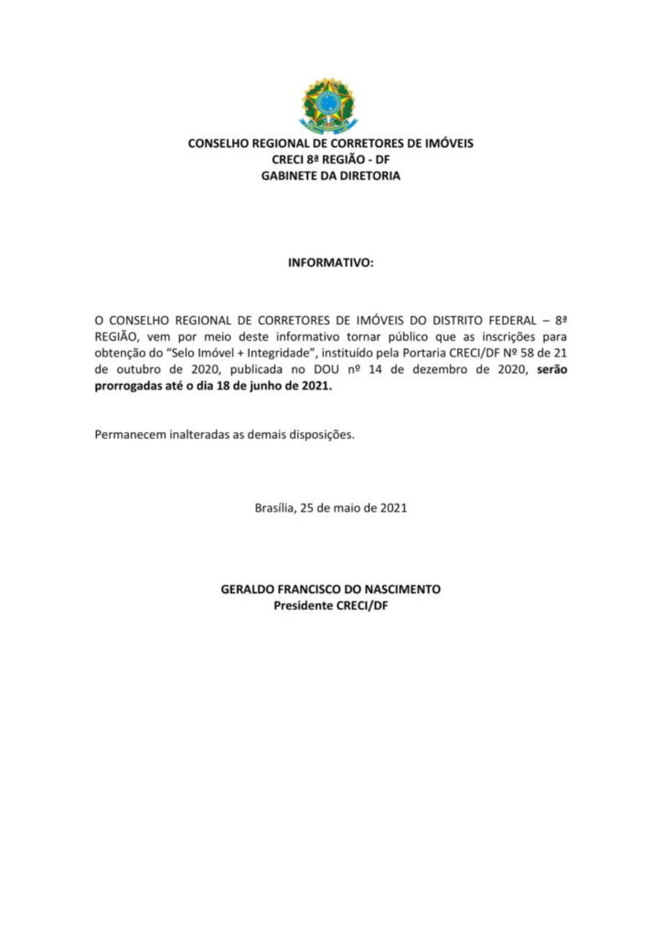 INFORMATIVO - PRORROGAÇÃO DAS INSCRIÇÕES DO SELO-1