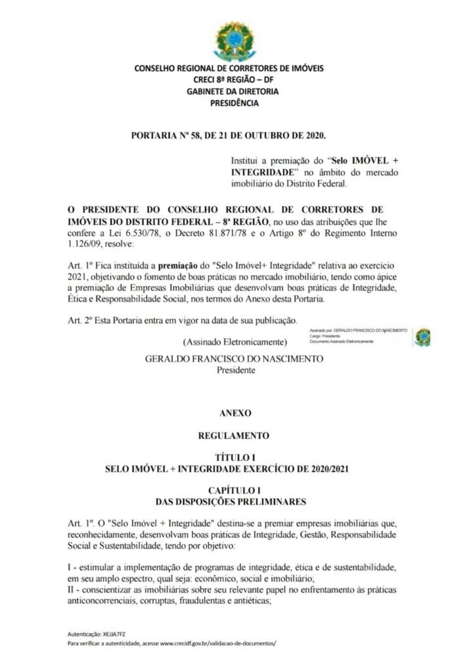 PORTARIA Nº 58 - SELO IMÓVEL + INTEGRIDADE.pdf_page_01